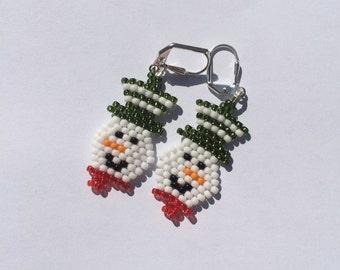 Snowman beaded earrings