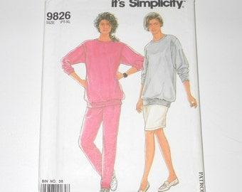 Vintage Simplicity 1990 Misses It's So Easy Knit Top, Pants And Skirt UNCUT Size PT-S-M-L-XL Pattern Number 9826