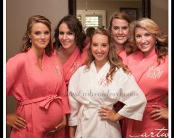 Personalized Spa Robe ~ Monogrammed Robe ~ 15 Color Options ~ Personalized Knee Length Spa Robe ~ Monogrammed Bridal Party Robes