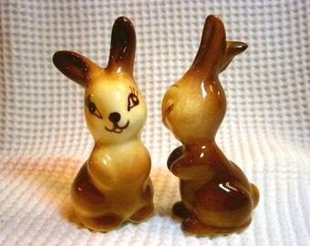 Cute Pair Vintage Brown Bunny Rabbit Ceramic Figurines