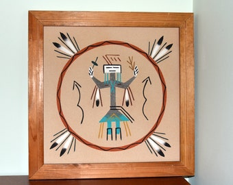 Genuine Indian Made Navajo Sand Painting by B. Tom