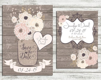 Shabby Chic Rustic Wood Vintage Style Save the Date Announcement Cards