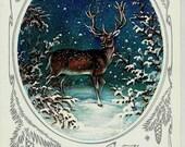 Deer, Russian Vintage Postcard, Happy New Year, Christmas, Xmas, unused 1984