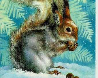 Squirrel, Vintage Russian Postcard, Happy New Year, Christmas, print 1985