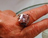 Hold for Bliss ==Vintage Large Light Pink Stone w/Tiny Diamonds Ring 10K Plumb Gold - SZ 8 Cocktail Ring