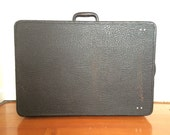 1930s Black Leather Hardshell Stackable Suitcase Trunk Storage Walrus Leather