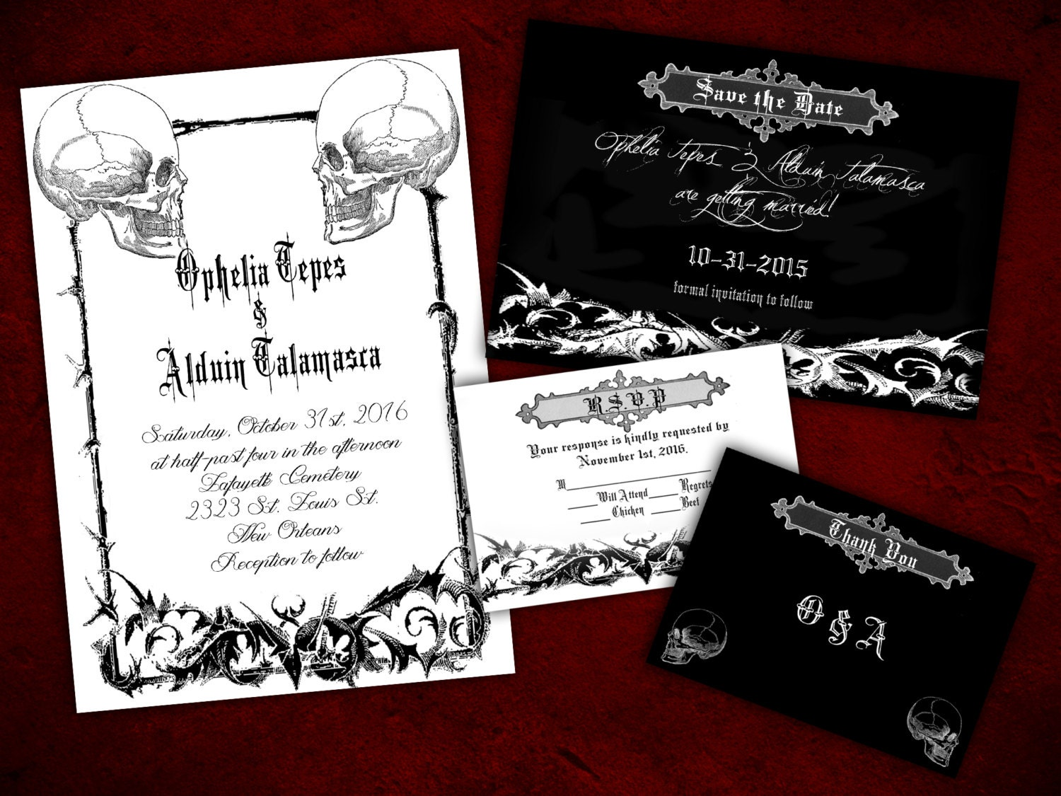 Halloween Wedding Invitation: Two Souls Gothic Halloween Wedding Invitation Save The Date