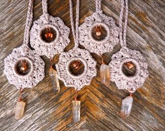 Nomad Quartz Flower Pendant. Copper. Handmade. Lace. Fiber Jewelry. Tribal. Earthy. Hemp. Cotton. Quartz. Crystal Wrap. Statement Necklace.