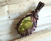 Forest Spirit - green lemon quartz with copper leaves wire wrapped pendant OOAK