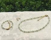 Flower Girl Jewelry Mint Green and Ivory Swarovski Pearls Prom Sorority Jewelry Set