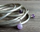 Boho Silver Bangles: Stacked Bracelet Set, Genuine Amethyst Beads, Gypsy Bohemian Indian Jewelry, Purple Beaded Stackable Bracelets, India