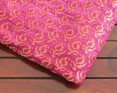 Half Yard-Pink Art Silk Sari-Gold Brocade Design-Recycle Silk Fabric-Silk Ribbon-Wide Border-Table Runner-Art Quilts-Scarf-Crazy Quilt