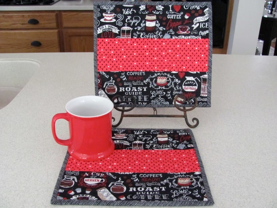 Quilted Mug Rugs Coffee Theme Chalkboard By