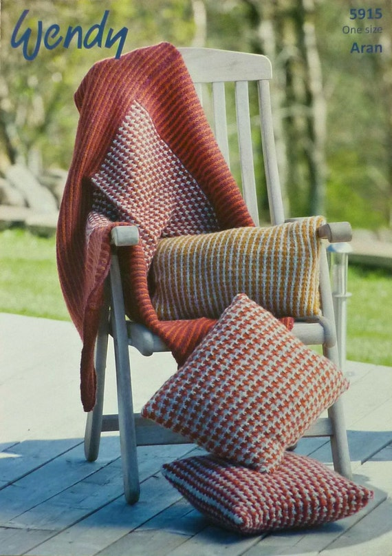 Oblong Cushion Knitting Pattern : Blanket Knitting Pattern W5915 Two Colour Throw/Blanket Square Rectangular Cu...