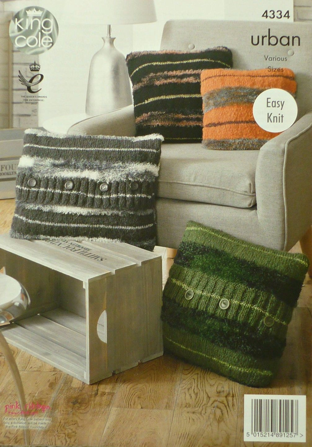 Cushion Knitting Pattern K4334 Square, Oblong Buttoned and Zipped Cushions (P...