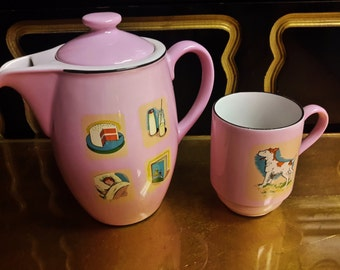 Little Orphan ANNIE & SANDY Teapot and Cup by Continental China Pink With Depictions