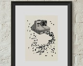 Vintage Polaroid Camera and Birds Poster Print Hand Drawn Line Art Illustration Home Dorm Room Studio Office Decor