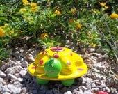 Nissan Hubcap Art Bug - Garden Art - Yellow, Green and Pink - Hub Bugz