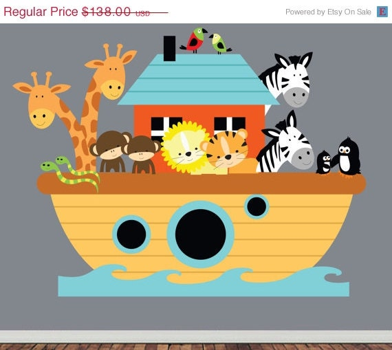 20% OFF SALE REUSABLE Noahs Ark Wall Decal - Childrens Nursery Wall Decal - Sws - Extra Large