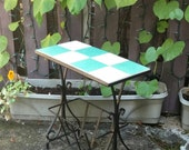 Patio Sun Room Table Furniture Plant Stand Wrought Iron Magazine Storage Rack Holder  Tiled Top Mid Century Retro