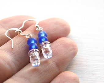 4th July Gift Tiny Clear LED Wearable Tech Computer Earring Blue Frosted Geeky Earrings Eco Friendly Earrings Electronics Sterling Silver