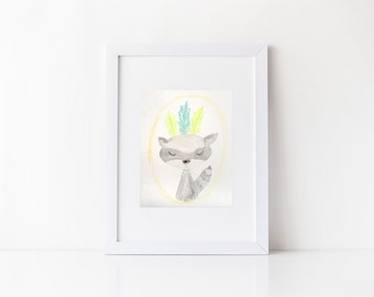 ORIGINAL Woodland Creature Racoon Watercolor Piece. Perfect for children's room or nursery!