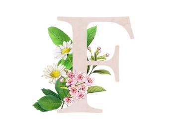 Floral Alphabet print - Letter print - Monogram - ABCs Wall Decor