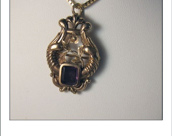 Antique 14k Art Nouveau Amethyst Pendant Brooch with Fold down pendant loop