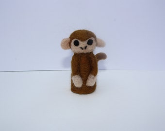 miniature monkey needle felted sculpture