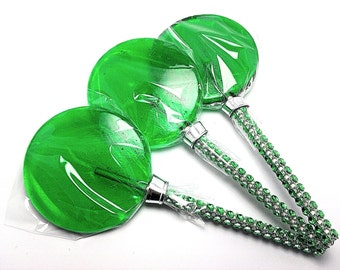 12 LARGE 2.5 INCH GREEN Lollipops with Bling Stick - Bridal Shower and Birthday Favors