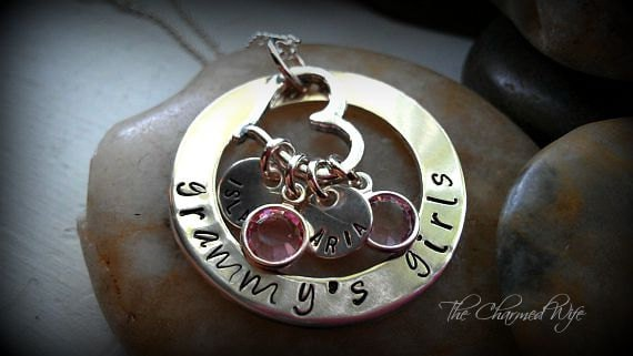 Hand Stamped Washer Necklace - Grammy's Girls Necklace - Mother's Day