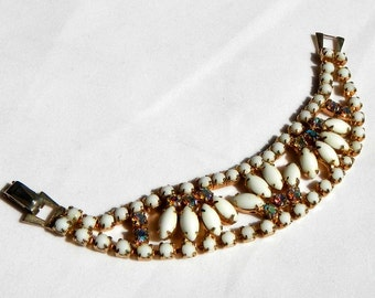 Vintage Bracelet by Barclay from 1940's AB Rhinestones and Gold