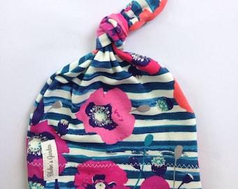 Organic baby knot hat- magenta poppies on navy stripes