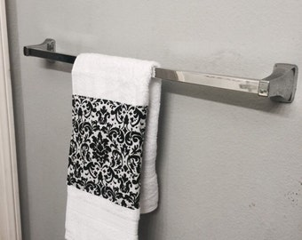 DAMASK BLACK and white guest towel one piece hand towel in damask trim beautiful bath or kitchen one piece