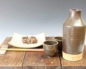 Sake Bottle Set with Two cups, Ceramic Pottery Bottle Ceramic Vase