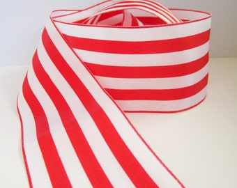 5.5 yards / 5 metres large thick red and white stripey ribbon - 2 inches / 50mm wide