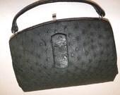 Vinatge 1940s 40s dark green real ostrich skin leather handbag grab bag suede lined