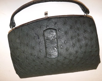 Vinatge 1940s 40s dark green real ostrich skin leather handbag grab bag suede lined