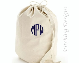 Monogram Laundry bag, Heavy canvas, embroidered Laundry Bag, Dirty clothes bag, Dorm room, Graduation gift, Personalized laundry bag