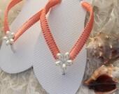 Coral wedding sandals, Tangerine Coral bridal flip flops Bridesmaids shoes Beach wedding Bridal sandals Bridal slippers pearl flower macrame