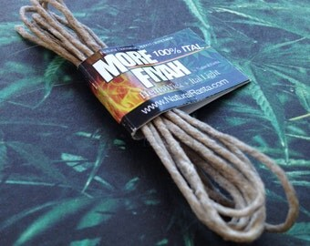 MORE FIYAH Hemp Wick + Ital Light Natural Beeswax Dipped Hemptwine 100% Ital