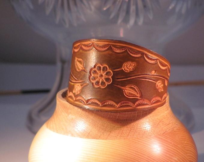 wrist cuff, medium brown leather cuff, leather bracelet, tooled leather wrist cuff, cuff bracelets