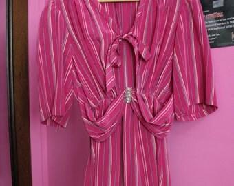 Vintage 1960s pink Bubble Gum pinstripe dress