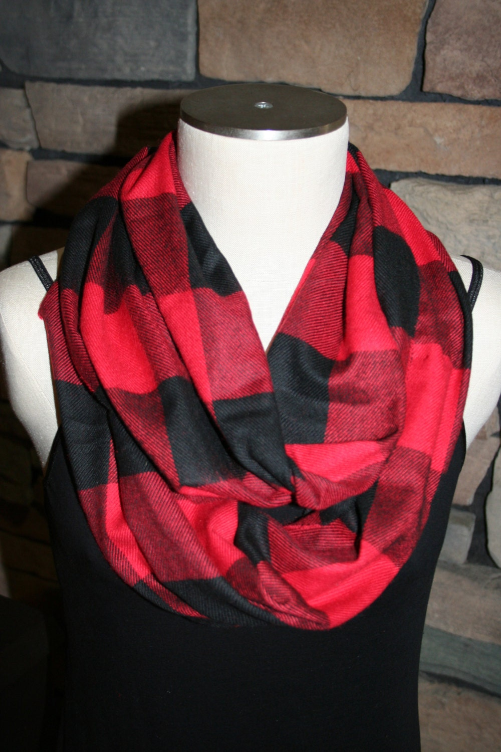 Buffalo Red Plaid Infinity Scarf Cashmere Red and Black Plaid