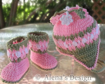 Crochet PATTERN Set - Crochet Hat Pattern - Crochet Booties Pattern - Blossom Hat - Baby Booties - Girl Toddler Children Ear Flap Winter Hat