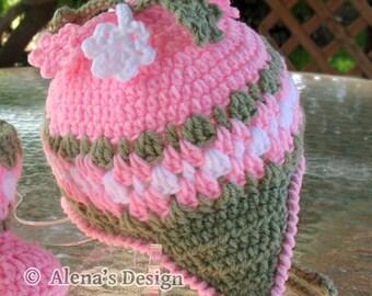 Crochet Pattern 003 - Crochet Hat Pattern - Hat Crochet Pattern for Blossom Hat - Girls Toddler Children Winter Ear Flap Hat Crochet Flowers