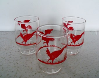 Red Rooster Chicken Glasses Juice Vintage Hen Set 3
