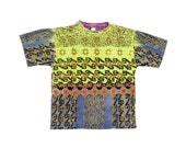 Beautiful 80s Ocean Pacific Allover Tribal Surf T-Shirt - L / XL