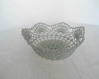 Crochet Doily Bowl, Silver Lace Bowl, Crochet Filigree Bowl, Glitter Centerpiece Bowl, Stiffen Bowl, Decorative  Bowl, Tea Light Holder