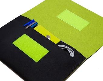iPad mini Keyboard case, iPad mini 3 Case, iPad mini bag, iPad mini Sleeve - Black & Bitter Lemon. Made in Tel-Aviv